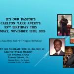 Pastor Avery's 53rd Birthday, November 15, 2015